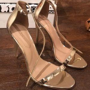 Aldo Gold Metallic Strappy Heel Sandals